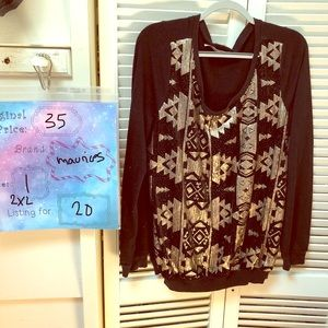 Geometric Print Sweater with Rose Gold Sequins